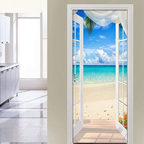 QUDMST 窓から海の景色3Dドアステッカー壁壁画リビングルームの寝室のドア壁紙ウォールステッカー自己接着防水装飾-77x200cm