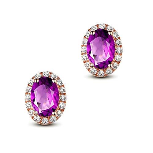 Bishilin Pendientes de Plata S925 para Mujer Her Stud Earrings Set Ajuste Cómodo Forma Oval Púrpura Oval Cristal Piedra del Zodíaco Pendiente de La Eternidad de La Boda del Aniversario Oro Rosa
