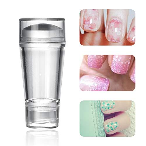 Xiton Nail Art Jelly Stamper mit Schrapper Transparente Soft Clear Nail Stamping Maniküre Print Professional Nail Art Zubehör für DIY Nagel-Kunst-Werkzeug Nagel Schablone