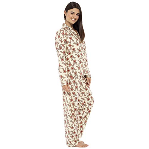 Womens 100% Brushed Cotton Reindeer Pyjama Lounge Set - Cream - L-XL
