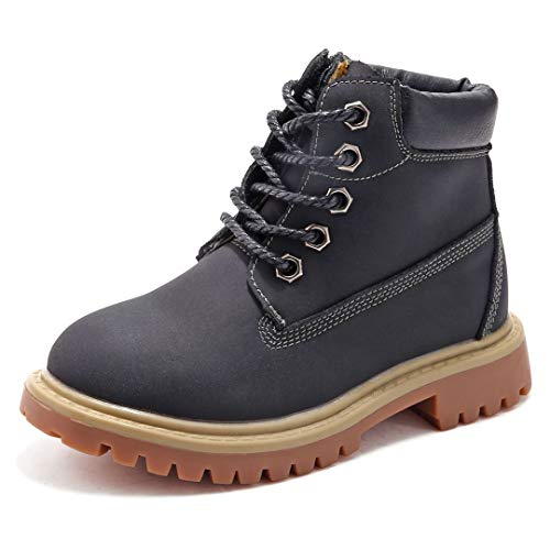 SKOEX Kids Classic Ankle Boot Boys Girls Waterproof Lace Up Workboots US Size 5 Black