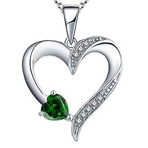 YL Kette Herz Damen Halskette Silber 925 mit Mai Geburtsstein Grün Zirkonia Anhänger für Frauen