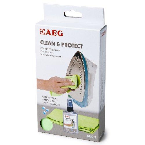 AEG AUC2 Bügelsohlenreiniger (Spezialreiniger inkl. Mikrofasertuch für alle Bügelsohlen, zuverlässige Entfernung von Schmutz-Ablagerungen und Schutz vor Verschmutzung, leichteres Bügeln)