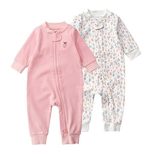 Baby Schlafstrampler Einteiliger Langarm Schlafanzug ohne Fuß 100% Bio-Baumwolle Baby Kleinkinder Schlafoverall Strampelanzug Pyjama 2er Pack Unisex für 0-24 Monate (Erdbeeren, 66cm)
