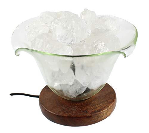 budawi® - Bergkristall Lampe, Bergkristall-/Steinlampe mit Glas in Blütenform, Edelsteinlampe Bergkristall
