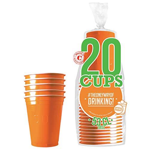 Pack de x20 Original Orange Cups Officiels | Gobelets Américains 53cl Oranges | Beer Pong | Qualité Premium | Gobelets en Plastique Réutilisables | Lavables Main et Lave-Vaisselle | OriginalCup®