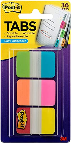Post-it Tabs, 1 in Solid, Aqua, Yellow, Pink, Red, Green, Orange, 6/Color, 36/Dispenser (686-ALOPRYT)