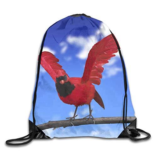 uykjuykj Sac à Dos avec Cordon de Serrage Motif Oiseau Rouge pour Gym, randonnée, Voyage Couleur Unique 06 Léger Unique 43 x 35 cm