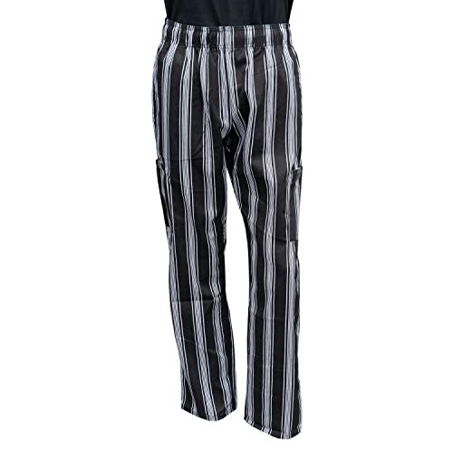 Chef Code Chef Pants, Triple Stripe Black White, 2X-Large