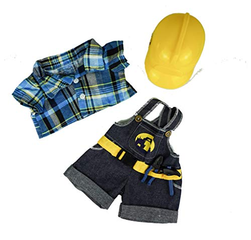 """Construction Worker with Hard Hat Teddy Bear Clothes Fits Most 14""""-18"""" Build-a-bear and Make Your Own Stuffed Animals"""