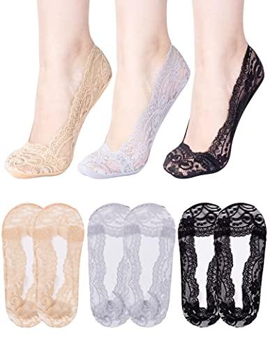 MELLIEX 6 Paar Damen Unsichtbare Socken, Füßlinge Spitze Ballerina Söckchen Frauen Halbsocken mit Rutschfest Silikon(Größe 35-40)