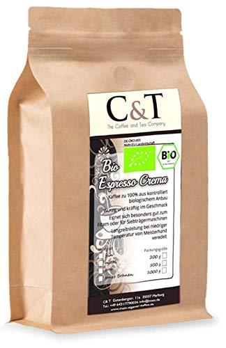 C&T Bio Espresso Crema | Cafe 2 x 500 g gemahlen im Kraftpapierbeutel Kaffee für Siebträger, Vollautomaten, Espressokocher