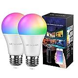 LE LampUX Ampoule LED Connectée E27 9W Equivalent de 60W, Ampoule Intelligente WiFi Alexa 806LM RGBW Dimmable, Ampoule Connecée Fonctionne avec Google Home Alexa, Aucun Hub Requis, 2 Pcs