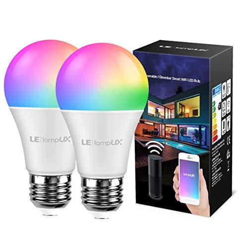 LE Alexa Lampen E27, 9W Alexa Glühbirnen, 806lm Alexa Licht, Smart Lampe RGB Farben mit Warmweiß, Smart LED E27, WiFi Alexa Birne, kompatibel mit Amazon Alexa Echo Google Home, 2 Pack