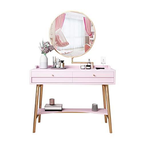 kerryshop Mesa de Maquillaje Mesita de tocador Minimalista posmoderna Dormitorio for Mujer Maquillaje Mesa giratoria de 360 Grados Espejo de Maquillaje 2 gavetas 4 Colores tocador (Color : Pink)