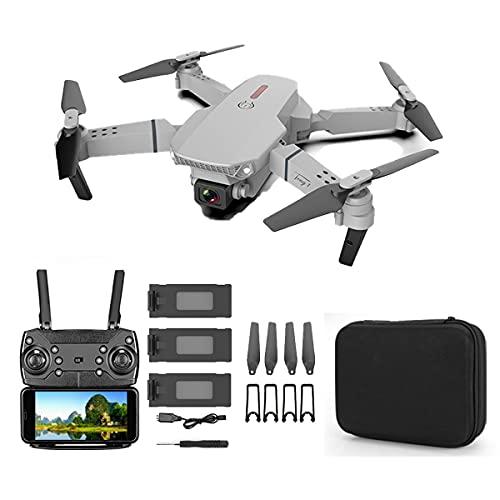 SWETIY Drone E88 Pro, Modalità Senza Testa Protezioni 360°Per Bambini E Principianti Buon Regalo, Induzione Di Gravità, Volo, Funzione Di Hovering, Un Pulsante Decollo E Atterraggio, Grigio 3 Batterie