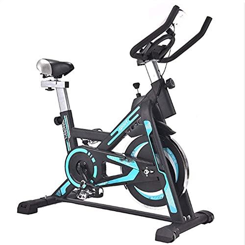 Qjkmgd Bicicleta de Ejercicio Interior, Ejercicio Giratorio Bicicleta LCD Pantalla LCD Sistema de tracción Tranquilo y Estable Bicicleta de Ejercicios Flywheel Apto para Ejercicio Interior, Azul