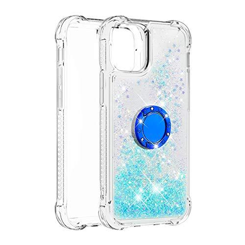 Hülle für iPhone 12 Mini (5.4inch) Diamant Ring Flüssig Treibsand Silikon TPU Bumper Hülle für iPhone 12 Mini (5.4inch)(Fluoreszierende grüne Sterne)