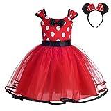 Lito Angels Disfraz de Minnie Mouse para Niña con Orejas de Ratón Aro de Pelo, Vestido de Tul con Lunares de Fiesta Cumpleaños Carnaval, Talla 12-18 meses, Rojo