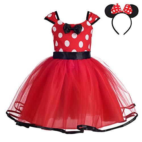 Lito Angels Niñas de Lunares de Minnie Vestir de cumpleaños Disfraz Halloween de Fiesta Vestidos de tutú con Diadema Orejas Talla 3-4 años Rojo