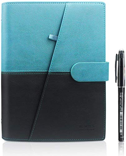 HOMESTEC Wiederverwendbares Notizbuch A5 Smart Notebook - Übertragung mit iOS/Android App - College Block/Dotted - Leder Notizbuch-Blau - 21 * 14,8 cm