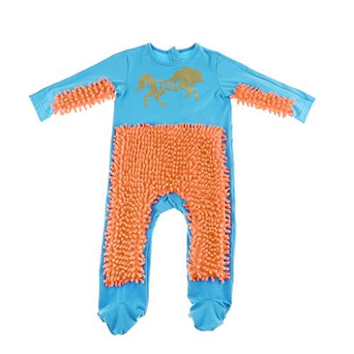 MagiDeal Baby Kleidung Wischmop Strampler Overall Mädchen Jungen Jumpsuit Babykleidung zum Krabbeln, Farben auswählbar - Blau + Orange, 90cm