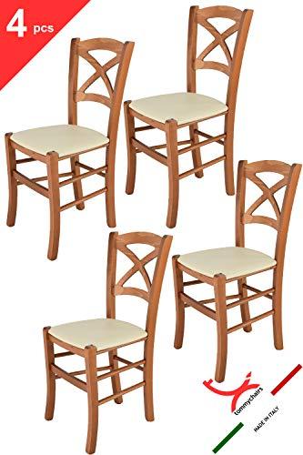Tommychairs 4er Set Stühle Cross Robuste Struktur aus lackiertem Buchenholz im Farbton Kirschbaum und Sitzfläche mit Kunstleder in der Farbe Elfenbein bezogen