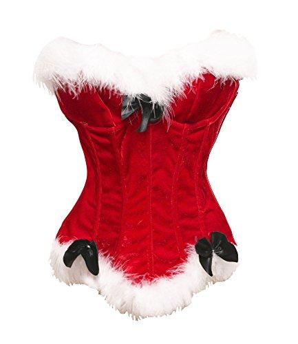 Bslingerie® Sexy Damen Weihnachten Samt Overbust Corsage (L, Rot)