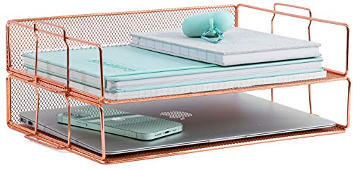 Rose Gold Letter Tray - 2 Tier Rose Gold Desk Organizer for Women, Stackable Paper Tray Organizer, File Organizer for Home Office and Desk Accessories