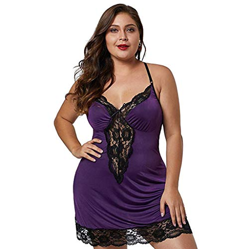 12shage Übergröße Nachtwäsche Damen Sexy Spitze Dessous Kleid Spaghettiträger Nachtkleid Negligee V-Ausschnitt Sleepwear Unterkleid Minikleid (Lila, 4XL)