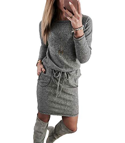 Yutila Damen Langarm Strickkleid Pulloverkleid, Grau , Gr.- S
