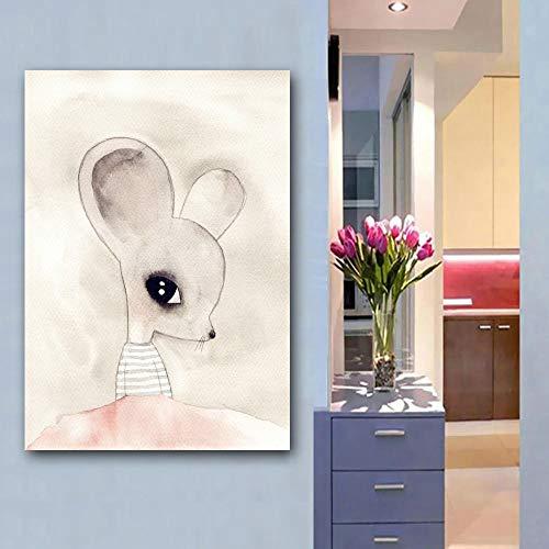 KWzEQ Animal de Dibujos Animados Conejo Oso Zorro Simple Arte Lienzo Cartel jardín de Infantes Familia niños habitación decoración,Pintura sin Marco,80X120cm