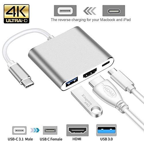MeterMall CE USB Type C Hub HDMI 4K Adapter USB-C naar Converter met 3.0 USB en 3.1 Oplaadpoort voor Retina MacBook ZILVER