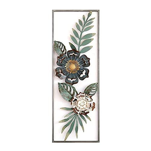 Peakfeng 3D schmiedeeiserne Blumenwand hängen mit Rahmen, verwendet für hängende Hintergrunddekoration Anhänger im Wohnzimmer und Schlafzimmer (Color : B)