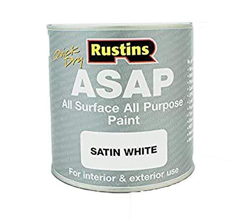 Rustin's (ASAPWH500 - Toute le peinture de surface - Intérieur et extérieur - Séchage rapide - finition satinée - Blanc - 500ml