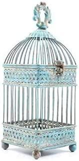 Small Antique Blue Square Iron Bird Cage