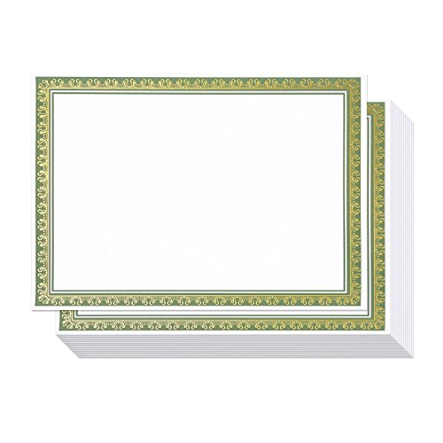 Certificate Paper with Green and Gold Border, Award Certificates (White, 8.5 x 11 in, 50-Pack)