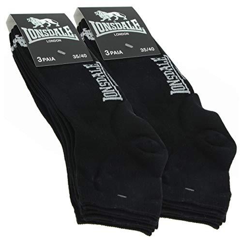 Lonsdale Quarter 6 Paia di calzini da donna sopra la caviglia, ottima qualità di cotone (Nero, 35-40)