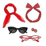 Nofonda Accesorios Estilo Lunares Retro de Los Años 50, Diadema + Bufanda + Gafas + Pendientes, Perfecto para Traje para Mujeres, Damas, Niños (Rojo)