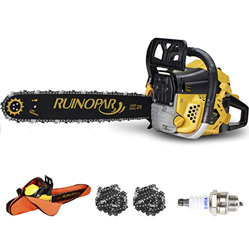 Gas Chainsaw 62CC 20 Inch Gas Powered Chainsaw Handheld Cordless with 2 Chain,2 Spark Plug and Chainsaw Bag for Cutting Wood Outdoor Home Farm Use