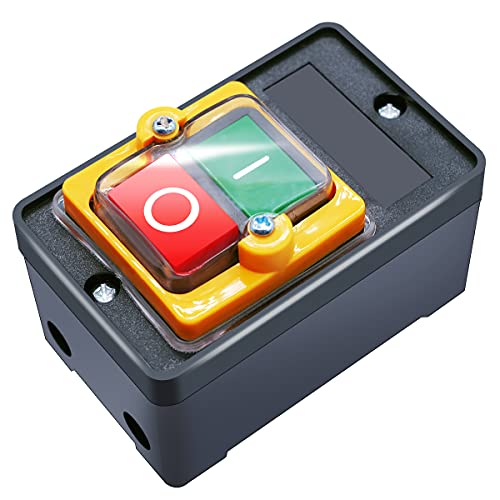 mxuteuk Waterproof Push Button Switch Motor On Off Switch Start Stop Switch Self Lock Mechanical Equipment Control Station 10A AC 220V/380V KAO-10KH