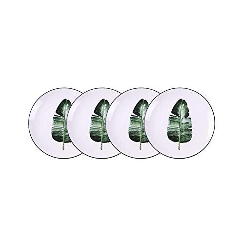 SSYS Juego de 4 Platos de Cena, Juego de vajilla de Porcelana Redonda de 8 Pulgadas para Plato de Cena, Ensalada, Fruta, Plato de refrigerio
