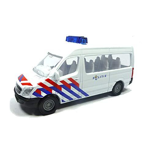 siku 0806003, Polizei-Transporter Niederlande, Metall/Kunststoff, Weiß/Blau, Anhängerkupplung, Spielzeugauto für Kinder