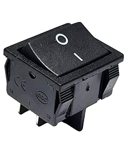Interruptor basculante negro de 4 pines, 6 A, 250 V CA, 24 x 21 mm