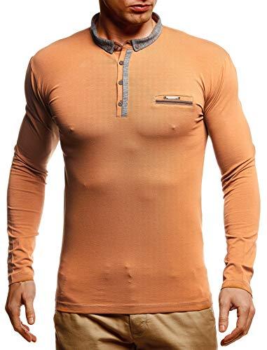 Leif Nelson Herren Langarmshirt Poloshirt Slim Fit Baumwolle-Anteil Basic Männer Longsleeve Pulli Sweatshirt Poloshirt Cameler Pullover Sweater T-Shirt Langarm LN4810 Camel Medium