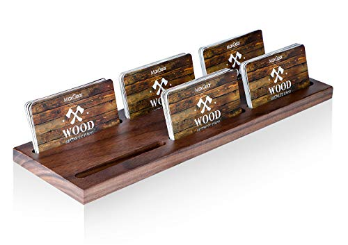 MaxGear Wood Business Card Holder for Desk Multiple Business Card Display Holders Professional Business Card Stand Horizontal Business Cards Holder Display for Desktop Business Cards Holder, Walnut