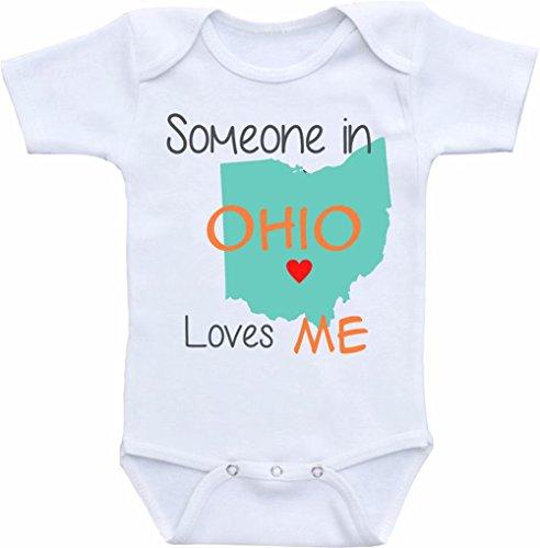 "Promini Divertido mameluco de una sola pieza con texto en inglés ""Someone in Ohio Loves Me or Any State"""