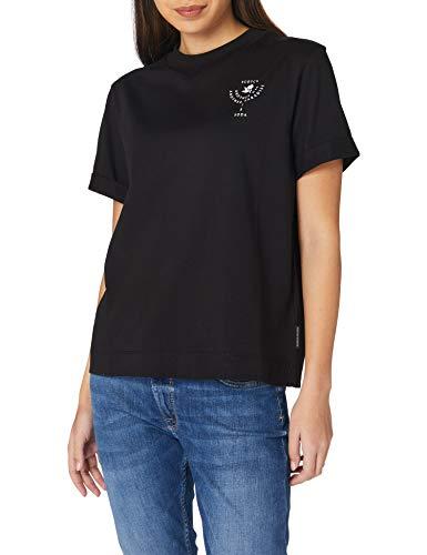 Scotch & Soda Maison Damen Bio-Baumwolle mit Grafik-Print T-Shirt, 0008 Black, L