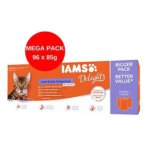 IAMS Delights Nassfutter für Katzen, Land & Sea Collection, in Soße (Mega-Pack: 96 x 85 g)