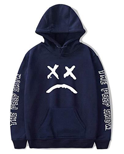 ShallGood Unisex Lil Peep Porträt Hoodie Herren Damen Pullover Jungen Top R.I.P Coole Rapper Hip Pop Pullover Straßenstil Sweatshirt Blau X-Large